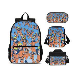 Naruto0 4PCS Schoolbag Set Kids Backpack Lunch Bag Cooler Bag Crossbody Pen Bag