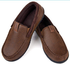 Men's Suede Moccasin Slippers Memory Foam House Shoes with Anti Skid Rubber Sole