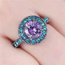 Fantastic SZ7 Luxury Amethyst Black Rhodium Plated Rare Women's Anniversary Ring