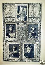 1900 Ornamental Italian Poet Portraits Half Tone Lithograph Plate Dante Tasso
