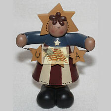 NOT a BLOSSOM BUCKET AMERICANA JULY 4th USA GIRL figurine standing apx 5x7x3