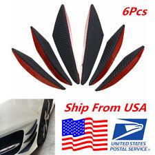 6X ABS Carbon Fiber Color Auto Car Front Bumper Fins Spoiler Refit Splitter Trim