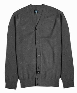 Fourstar CONFETTI CARDIGAN Boys Youth Knit Sweater Grey Heather Medium NEW