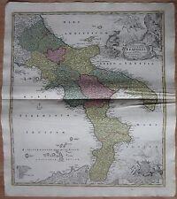 HOMANN: Atlas Map of  Italy Napoli Cartouche Mt. Vesuv - 1747