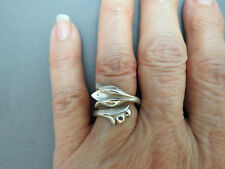 Vintage Sterling Silver Avon Tulip Wrap Around Ring Adjustable Size 7 Marked
