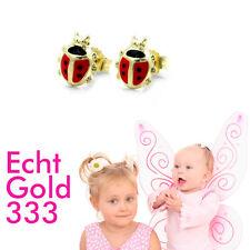 Mädchen Marienkäfer rot Ohrstecker Kinder Ohrringe aus ECHT GOLD 333 (8 Kt) Neu