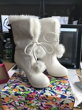 Ankle boots W/ Heel size women's 8 (euro 39) White leather stylish New