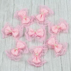 10/20/35 Pink Lace bow w/Pearl Satin Ribbon Flower Small Appliques DIY Appliques