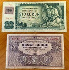 Banknotes Lot (2pcs) - Czechoslovakia (P27)/Czech Republic (P1), both Vf