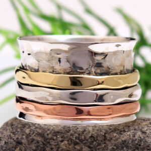 Three Tone Meditation spinner band 925 Sterling Silver Ring Jewelry all Size
