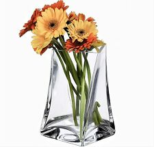 Clear Glass Tall Twist Flower Vase for Table Container 19cm high - Mothers Day