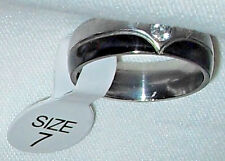 Stainless Steel Ring with Black Trim and a Single Rhinestone size 7