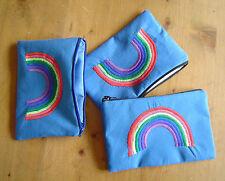Rainbow Ricamato Blu Cotone portamonete tabacco TELEFONO AURICOLARE Marsupio Zip Regalo