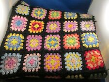 "Granny Square Afghan Throw Black Multi-color Hand Crochet Blanket  35"" x 55"""