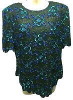 Lawrence Kazar Beaded Sequin Party Silk Floral Top L Black Purple Blue Green