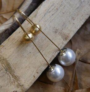 Gold U Shape Pearl Earrings New Jewelry Fine Sterling Silver Shipping Included
