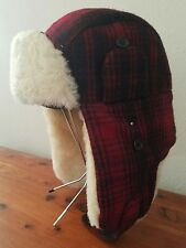 Woolrich Men's Hunt Trapper Bomber Aviator Red Black Plaid Wool Shearling Hat M