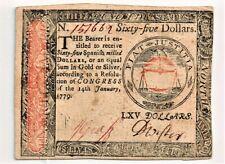 Continental Currency January 14, 1779 $65. Choice AU.