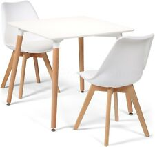 White Eiffel Dining Set 80cms Square Table & 2 Chairs but Very Slight 2nds