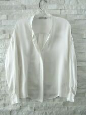 Vince Ivory Fluid Silk Crepe Popover Band Collar Relaxed Fit Blouse 4 RECENT!