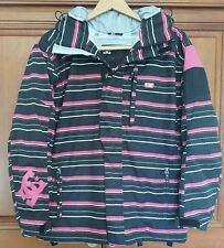 DC EXOTEX 10,000 Pink / Black Striped Hooded SKI Snowboard Jacket Womens XL EUC