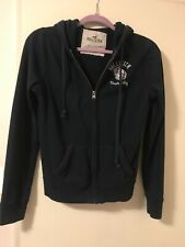Hollister Women L Casual Long Sleeve Full Zip Up Hooded Jacket Beach Relay Navy