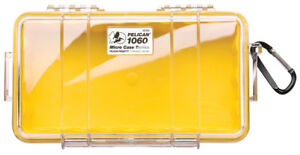 Pelican ™ 1060 clear with Yellow Micro Case with Foam Free engraved nameplate