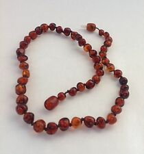 Vintage Genuine Baltic Amber Dark Cognac Honey Knotted Choker Necklace 14""