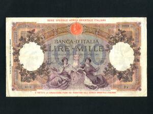 Italian East Africa/Italy:P-4b,1000 Lire,1939 * Italian Occupation * F-VF *