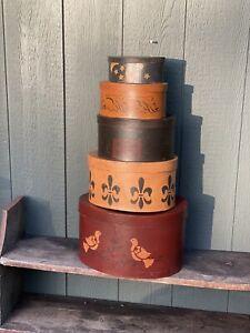 Folk Art Primitive Hand Painted Set 5 Nesting Boxes Great Color Farmhouse Shaker
