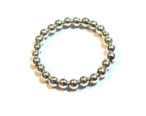 Sterling Silver Or Solid 9ct Gold Or Mix Stretch Single Row Bead Ring. 3mm Wide.