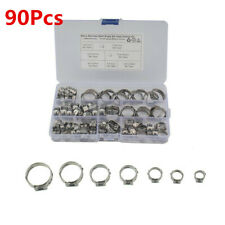 90Pcs Car Stainless Steel Single Ear Hose Fuel Air Pipe Clamp O Type 5.8-21mm