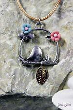 Glass Jewels Silber Halskette Kette Anhänger Vogel Vintage Blume Porzellan #M061