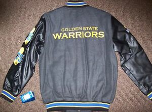 Golden State WARRIORS CHAMPIONSHIP Wool Body Jacket Faux Leather Sleeves Jacket