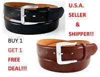 Men's Genuine Bonded Leather Jeans Dress Belts 2 PACK /BOGO DEAL Black and Brown