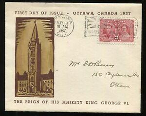 Canada FDC 1937 George VI Coronation - Ottawa - Rev. EJ Etherington Cachet Cover