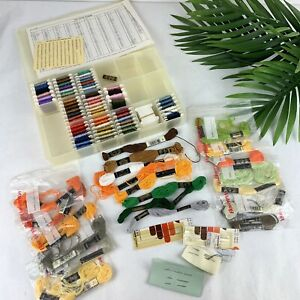 Mixed Lot Of 75+ DMC Embroidery Thread Floss Wrapped On Cards in Case + Needles