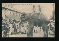 India Madura Animals TEMPLE ELEPHANT & crowd used c1920s Sweden Missionery PPC