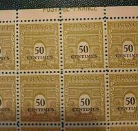 FRANCE    SHEET 100 stamps ARC DE TRIOMPHE 50 centimes 1945 MNH