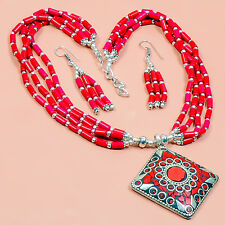 HIGH QUALITY 925 SILVER PLATED CORAL STONE HANDMADE NEPALI NECKLACE  M0479