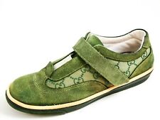 Gucci Low Top Sneakers Green Suede GG Canvas Mens Shoe Size US 7 EU 40 $580