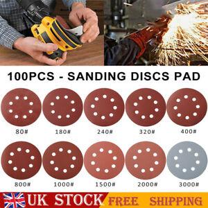 100Pcs Sanding Discs 80-3000 Grit Assortment Hook & Loop Sandpaper 125mm 8 Hole