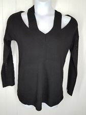 Pixley Sweater M Black Sisaly Cold Shoulder Pull-over womens stitch fix