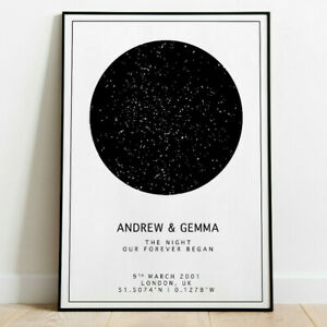 Personalised Night Sky Star Map Poster 1st Anniversary Paper Wedding Baby Gift