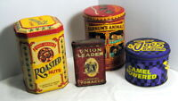 Tin Lot Roasted Nuts Joe's Racing Barnum's Animals Union Leader Tobacco Vintage