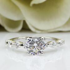 wedding Ring 14k White Gold Fn Certified 2ct Near White Moissanite Round Cut