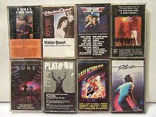 8 Cassette Tapes  80's Movie Soundtracks  Top Gun  Dune  Footloose  Urban Cowboy