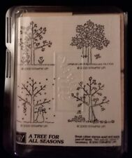 Stampin' Up A TREE FOR ALL SEASONS Set of 4 Wood Mounted Rubber Stamps unmounted
