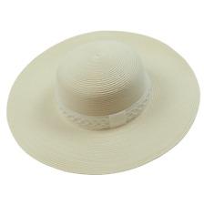 Chloe White Wide orlo del cappello da sole con dettagli treccia 52
