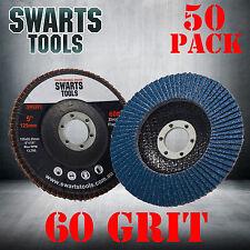 50 x  Abrasive 5'' 125MM Metal Sanding Flap Discs Angle Grinder Wheels 60 Grit